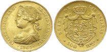Espagne 100 Reales Isabelle II - Armoiries - 1864 - Madrid - Or