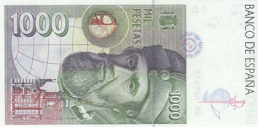 Espagne 1000 Pesetas - H. Cortès - F. Pizzaro 1992