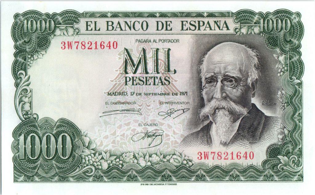 Espagne 1000 Pesetas - José Echegaray - Madrid - 1971
