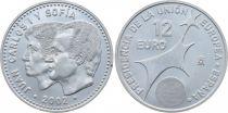 Espagne 12 Euros Juan Carlos et Sofia - Présidence Union Européene 2002