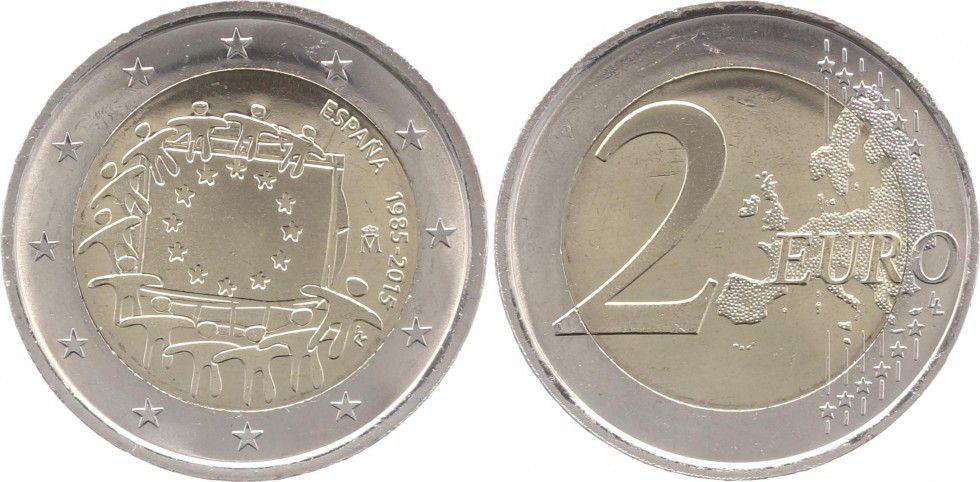 Espagne 2 Euros 30 ans du Drapeau Européen - 2015
