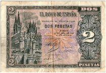 Espagne 2 Pesetas,  Cathédrale de Burgos  - 1938 - TB  - P.109
