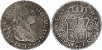 Espagne 2 Reales Charles IV - Armoiries - 1803