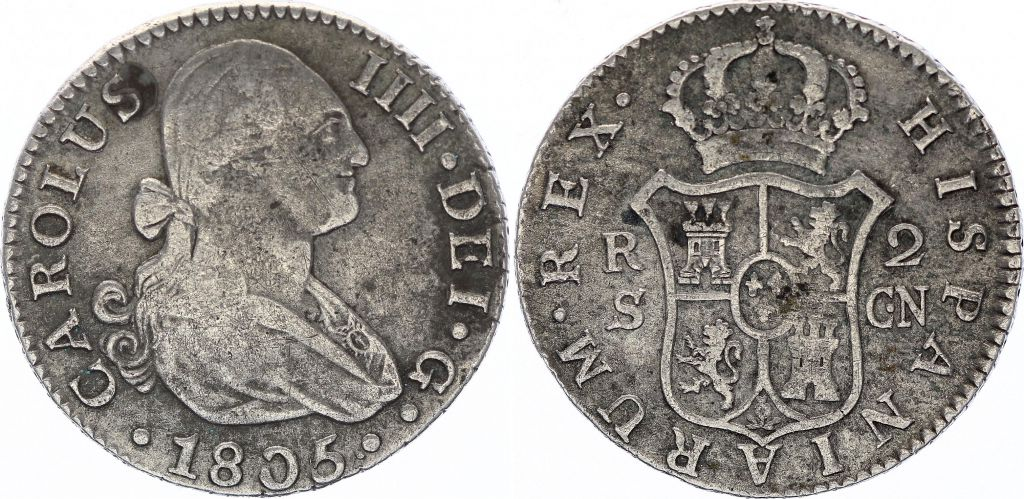 Espagne 2 Reales Charles IV - Armoiries - 1805