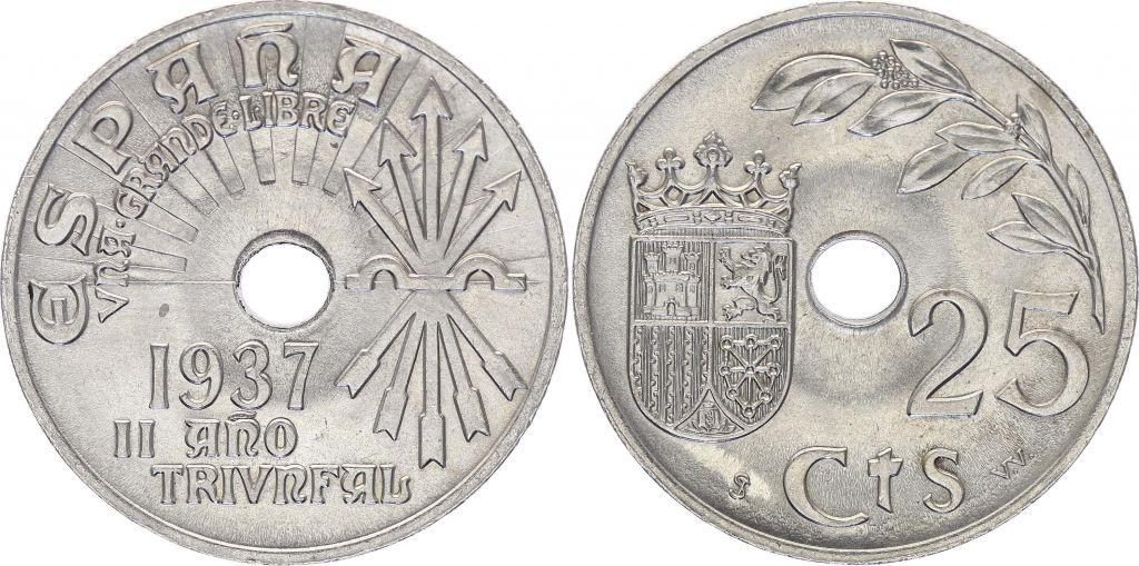 Espagne 25 centimos - République  -1937