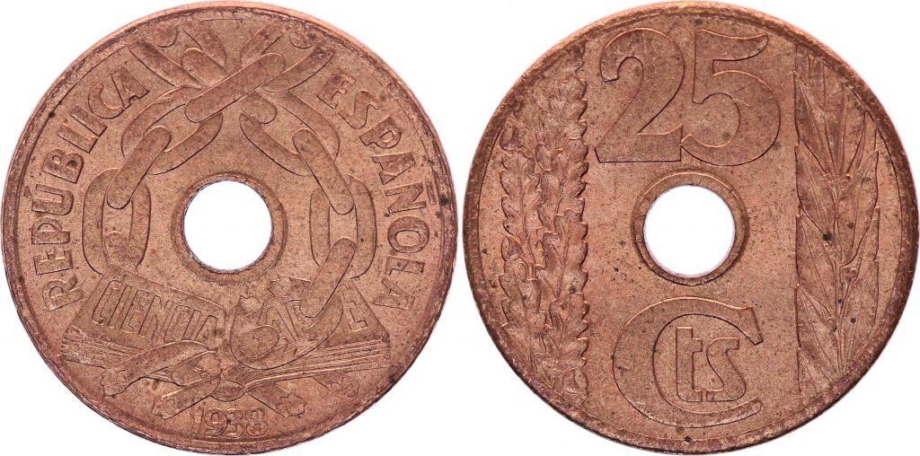Espagne 25 centimos - République  -1938