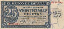Espagne 25 Pesetas - Burgos - 1936 - TTB - P.99