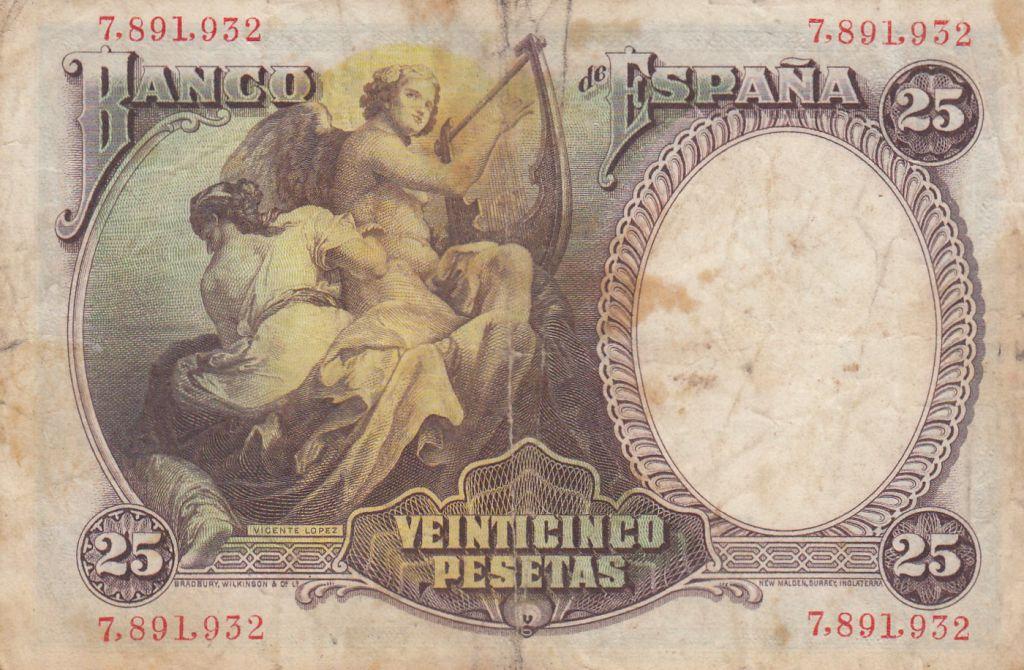 Espagne 25 Pesetas 1931 - Vicente Lopez