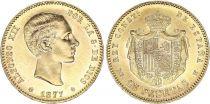 Espagne 25 Pesetas Alfonse XII - Armoiries - 1877
