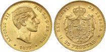 Espagne 25 Pesetas Alfonse XII - Armoiries 1877 Or