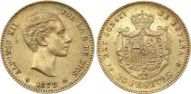 Espagne 25 Pesetas Alfonse XII - Armoiries 1878 Or
