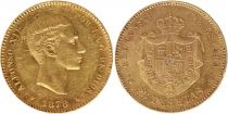 Espagne 25 Pesetas Alfonso XII - Armoiries - 1878 (78) - EM M - Or