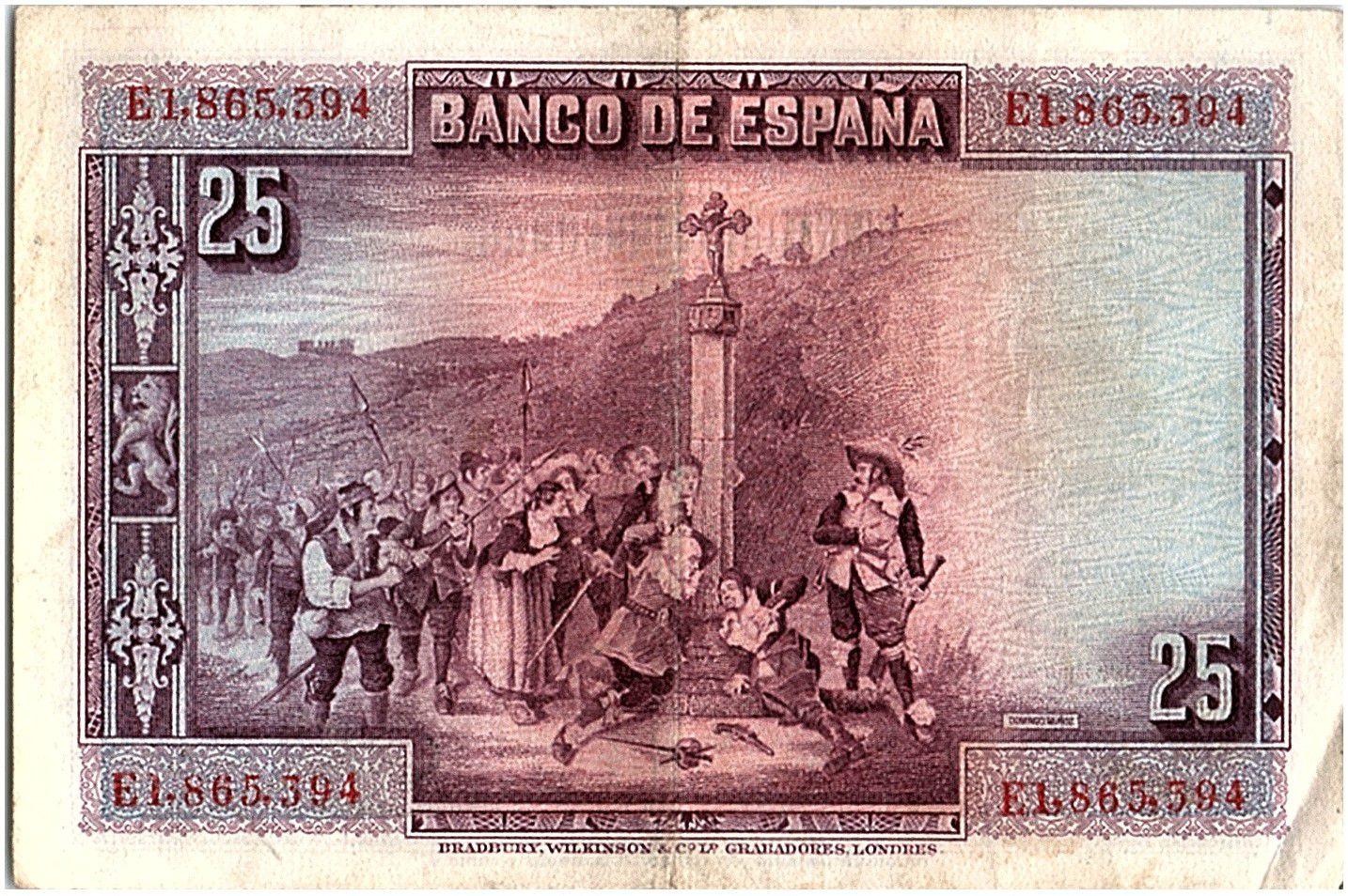 Espagne 25 Pesetas P. Calderon de la Barca - 1928 - Série E - TTB - P.74