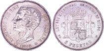 Espagne 5 Pesetas,  Alfonso XII - Armoiries -1876 (76)