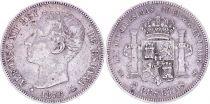 Espagne 5 Pesetas,  Alfonso XII - Armoiries -1876