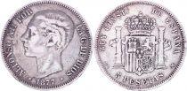 Espagne 5 Pesetas,  Alfonso XII - Armoiries -1877 (77)