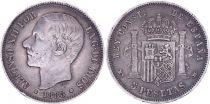 Espagne 5 Pesetas,  Alfonso XII - Armoiries -1885 (87)
