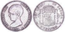Espagne 5 Pesetas,  Alfonso XIII - Armoiries -1891 (91)