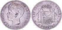 Espagne 5 Pesetas,  Alfonso XIII - Armoiries -1898