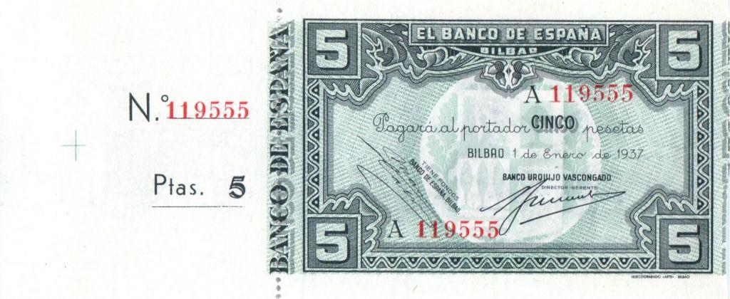 Espagne 5 Pesetas 1937 - Bilbao