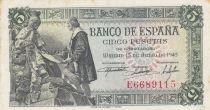 Espagne 5 Pesetas 1945 - C. Colomb et Isabel Ii, conquista