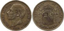 Espagne 5 Pesetas Alfonso XII - Armoiries - 1885 (86) MS-M