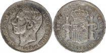 Espagne 5 Pesetas Alfonso XII - Armoiries - 1885 (87) MS-M - 2 EX