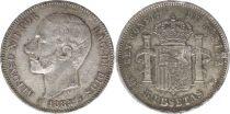 Espagne 5 Pesetas Alfonso XII - Armoiries - 1885 (87) MS-M - 3 EX