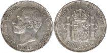 Espagne 5 Pesetas Alfonso XII - Armoiries - 1885 (87) MS-M