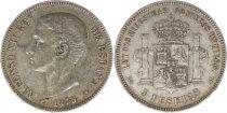 Espagne 5 Pesetas Alfonso XII - Armoiries -1875