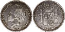 Espagne 5 Pesetas Alfonso XIII - Armoiries - 1893 - PG L Argent