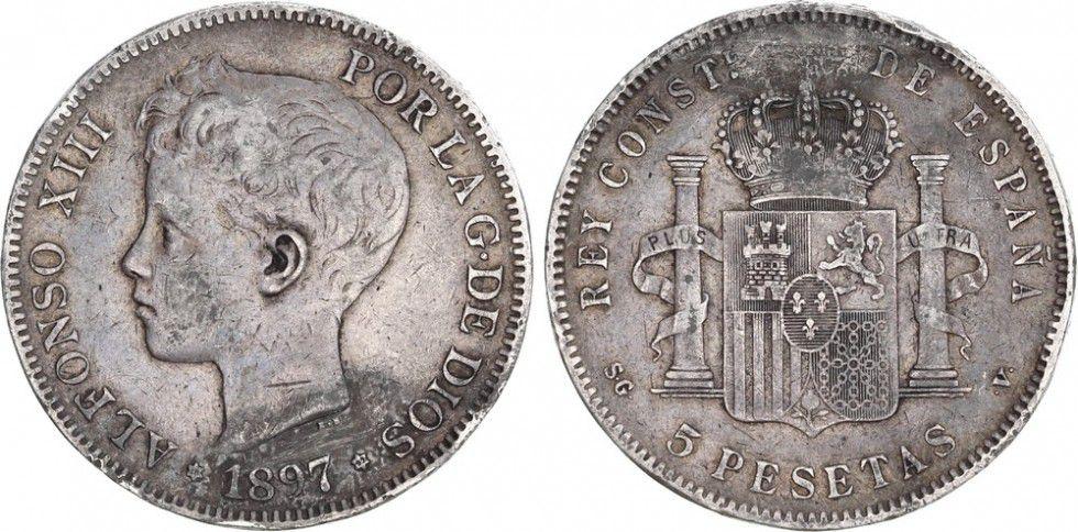 Espagne 5 Pesetas Alfonso XIII - Armoiries -1897