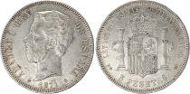 Espagne 5 Pesetas Amadeo 1er - Armoiries - 1871 (75)