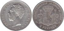 Espagne 5 Pesetas Amadeo 1er - Armoiries - 1871