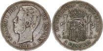 Espagne 5 Pesetas Amadeo I - Armoiries - 1871 (74) - DE-M