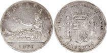 Espagne 5 Pesetas Liberté assise - 1870 Argent