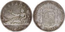Espagne 5 Pesetas Liberté assise - Armoiries - 1870 Argent