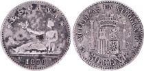 Espagne 50 Centimos, Liberté assise - Armoiries - 1870 SN M