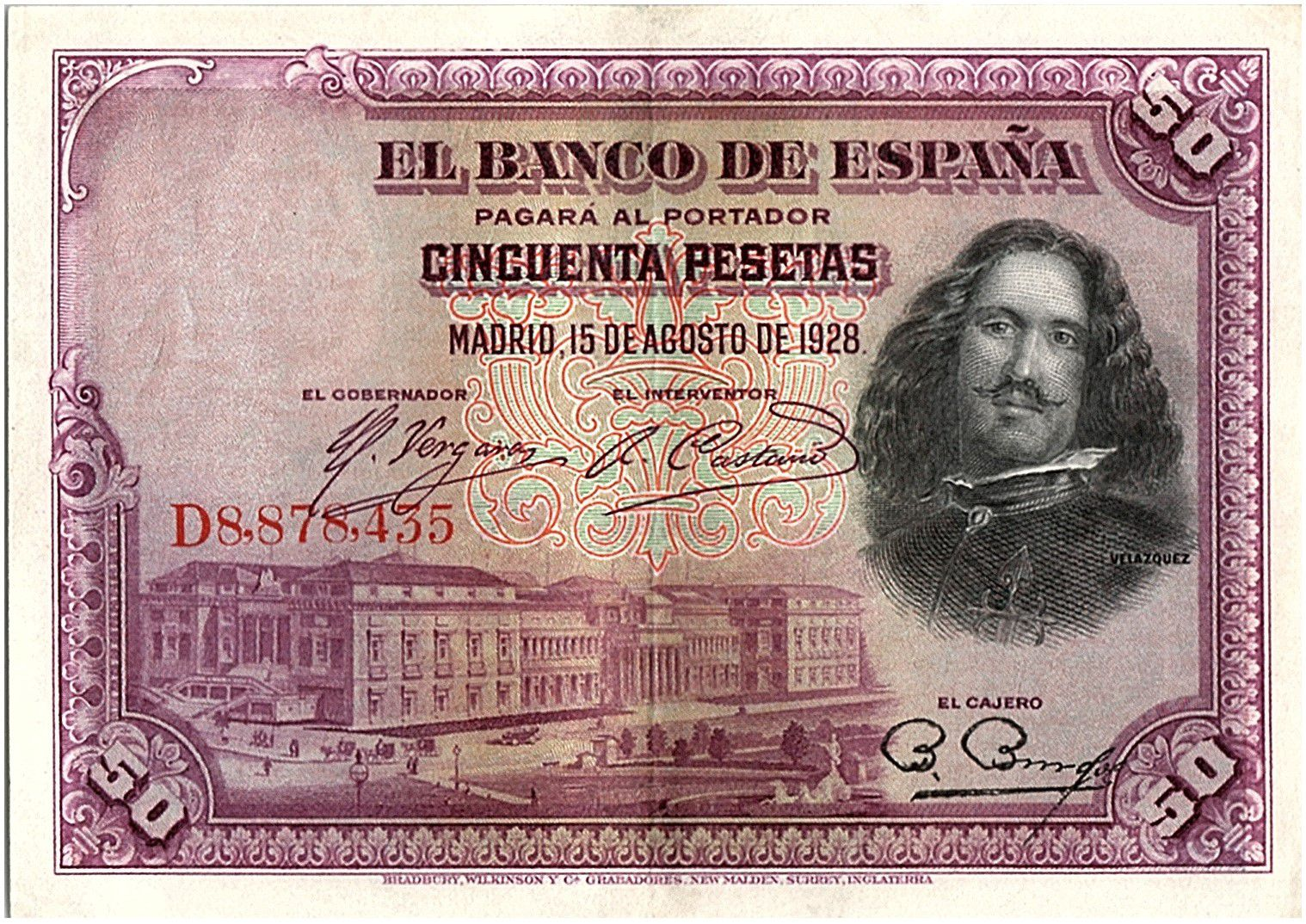 Espagne 50 Pesetas  - D. Vélasquez - 1928 - Série D - SUP / SUP + - P.75