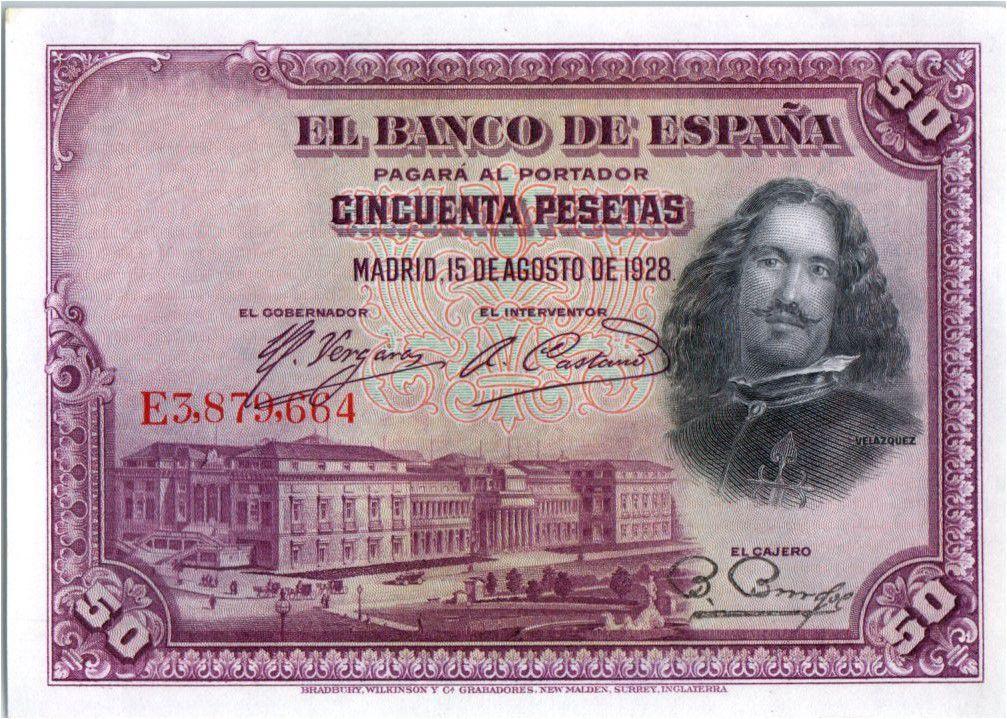Espagne 50 Pesetas  - D. Vélasquez - 1928
