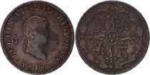Espagne 8 Maravedis Ferdinand VII - Armoiries - 1819