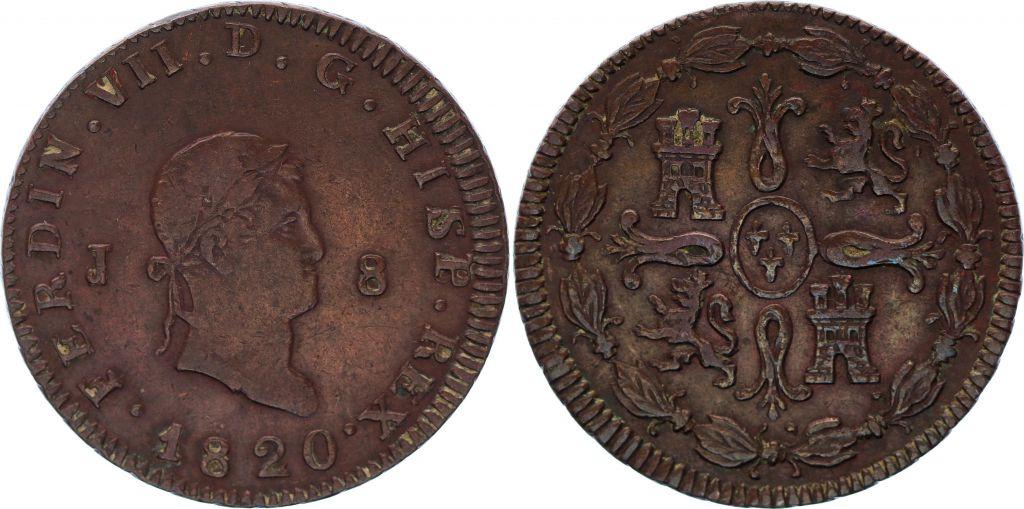 Espagne 8 Maravedis Ferdinand VII - Armoiries - 1820