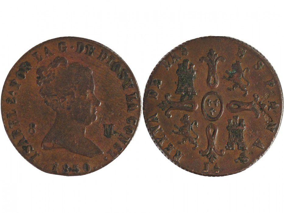Espagne 8 Maravedis Isabelle II - Armoiries - 1850