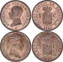 Espagne Lot 2 x 1 centimo - Alfonso XIII  - 1912  et 1906 - SPL