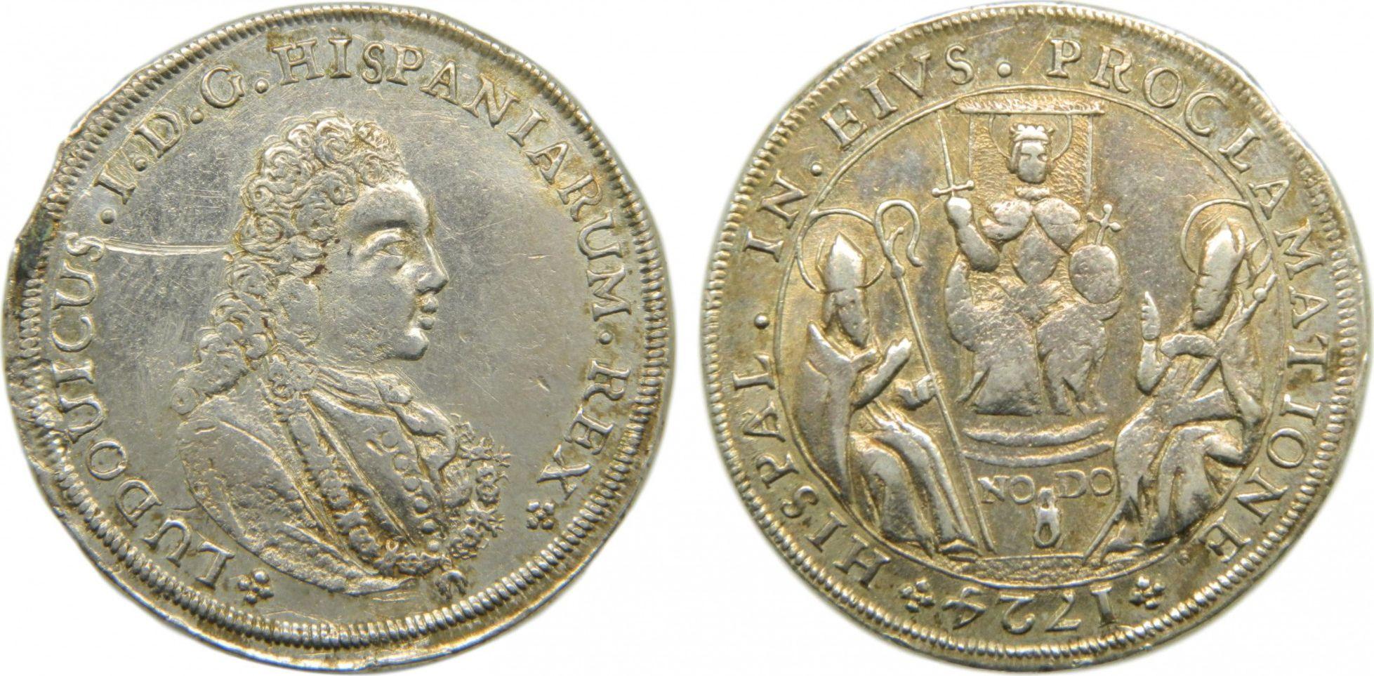 Espagne Luis I - Médaille de Proclamation 1724 - Séville sur un module de 4 Reales - Argent