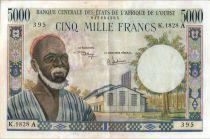 Estados de África del oeste 5000 Francs Bearded Man - Woman - 1975 - Cote d\'Ivoire
