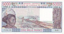 Estados de África del oeste 5000 Francs Woman, fish, boat