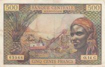 Estados de África ecuatorial 500 Francs ND1963 - Woman, mining industry, camels - Serial O.14 - C = CONGO