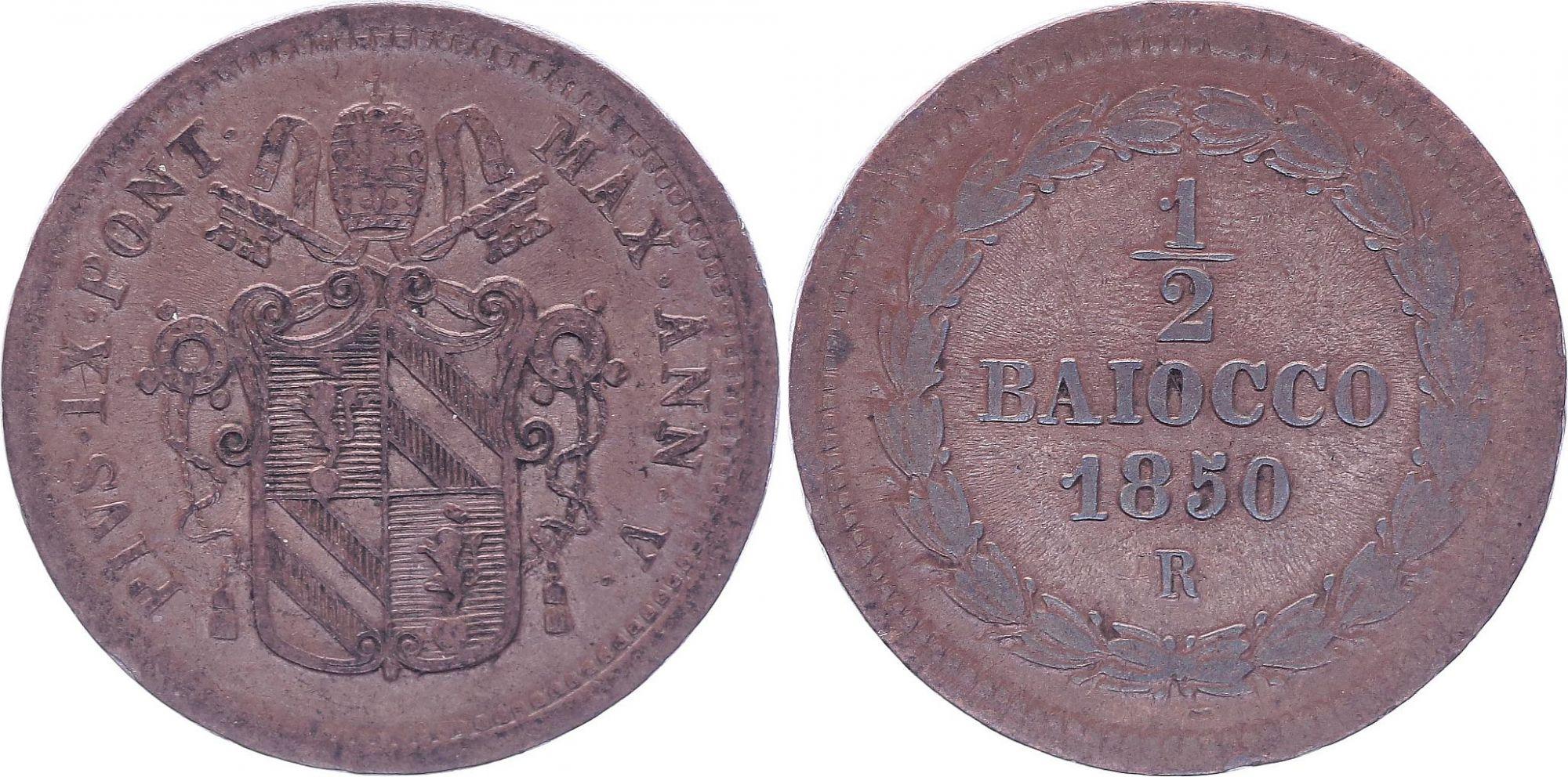 Etat Pontifical 1/2 Baiocco  - Pivs IX - 1850 R V