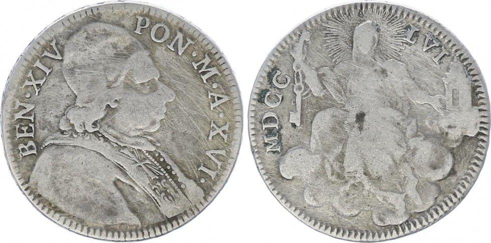 Etat Pontifical 1/5 Scudo Benoît XIV- La Vierge Marie - MDCCLVI 1756